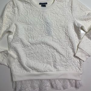 blush and bloom girls size Large White Embossed sweater With Lace